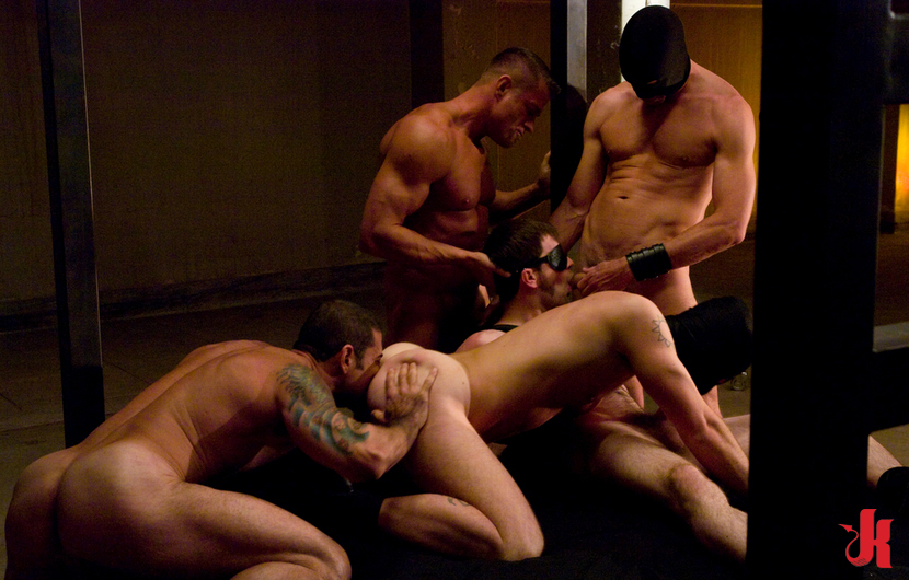 Gay hunks naked and tied licked and sucking cocks in rough gay group blowjob ...