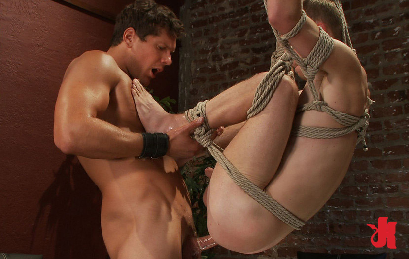 Gay man tied up and fucked
