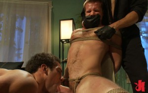 Man gets his mouth covered by a burglar while tied up and having his cock sucked off