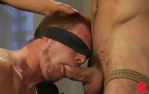 Blindfolded gay man is forced to suck another tied up man's dick by a burglar